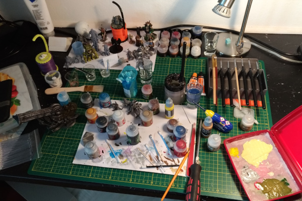 My painting area during painting some miniatures.