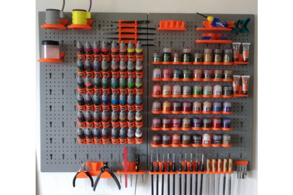 My self designed and 3D printed peg board to organize my paints and tools.
